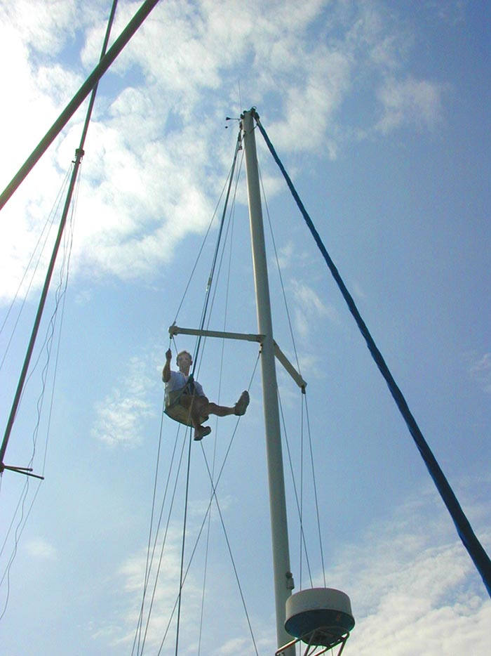 Sailboat replacement rigging specialist checks mast aloft.